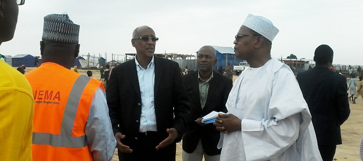 Special Representative Mohamed Ibn Chambas visiting an IDP Camp in Maiduguri in Nigeria.