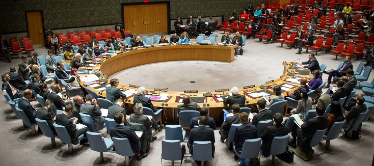 A wide view of the Security Council meeting on the situation in Ukraine.