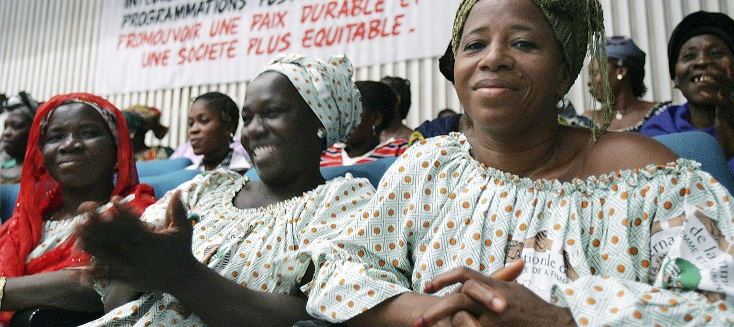 Women from all over Côte d'Ivoire gather to celebrate International Women's Day at the Palais de la Culture in Abidjan.