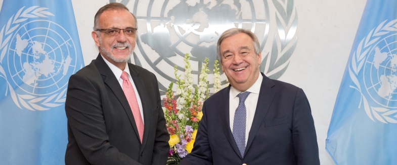 Secretary-General António Guterres (right) meets with Iván Velásquez Gómez, Commissioner of the International Commission against Impunity in Guatemala (CICIG).