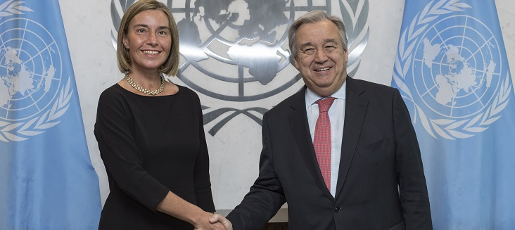 Secretary-General António Guterres (right) meets with Federica Mogherini, European Union High Representative for Foreign Affairs and Security Policy and Vice-President of the European Commission.