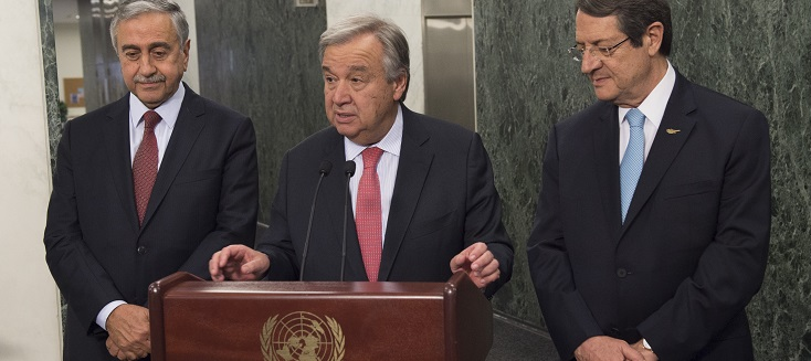 Secretary-General António Guterres (centre), along with Turkish Cypriot leader Mustafa Akinci (left) and Greek Cypriot leader Nicos Anastasiades, briefing the media following their meeting in UN Headquarters in New York.