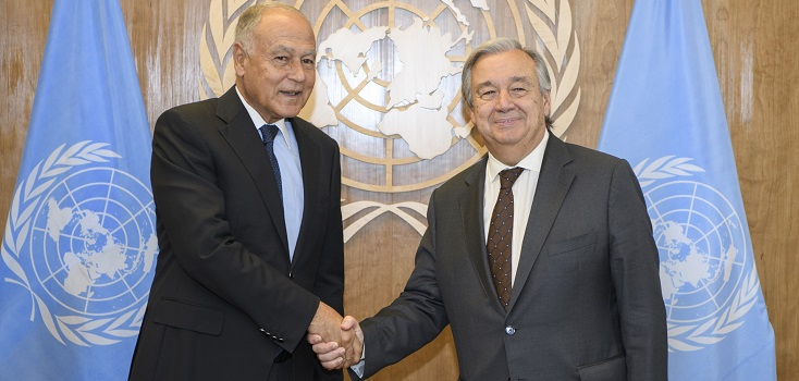 Secretary-General António Guterres (right) meets with Ahmed Aboul Gheit, Secretary-General of the League of Arab States. 23 September 2017.