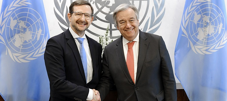 Secretary-General António Guterres (right) meets with Thomas Greminger, Secretary General of the Organization for Security and Co-operation in Europe (OSCE).