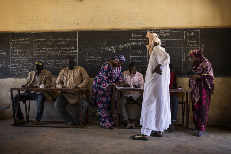 Scene from a polling station in Gao, Mali. Mali held a run-off presidential election between incumbent President Ibrahim Boubacar Keita and opposition leader Soumaila Cissé. The first round of elections, which took place on 29 July 2018, narrowed the field down from twenty-four candidates to two.