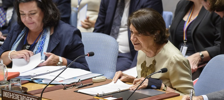 Under-Secretary-General for Political Affairs Rosemary A. DiCarlo briefing at the Security Council. UN Photo