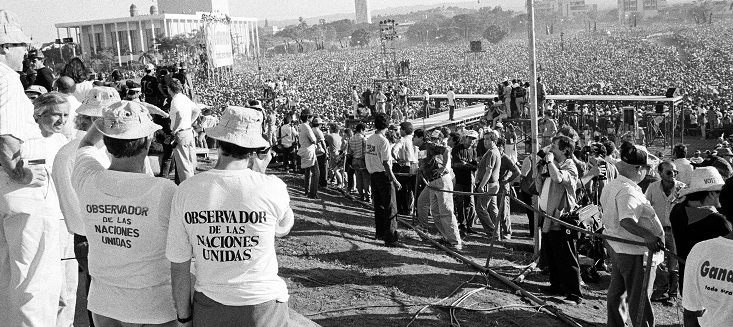 United Nations Observers monitor a political rally in Managua. February 1990.