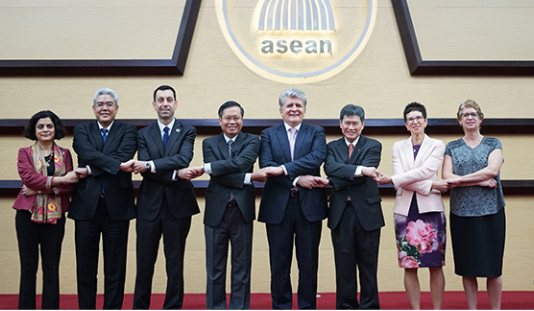 UN and ASEAN officials group picture at the UN-ASEAN Secretariat-to-Secretariat Meeting in Jakarta, April 2018.
