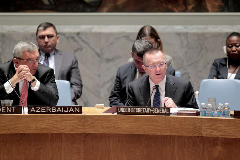 Jeffrey Feltman (right), Under-Secretary-General for Political Affairs, briefs the Security Council on the situation in the Middle East, including the Palestinian question. Next to Mr. Feltman is Agshin Mehdiyev, Permanent Representative of Azerbaijan to the UN and President of the Council for October.