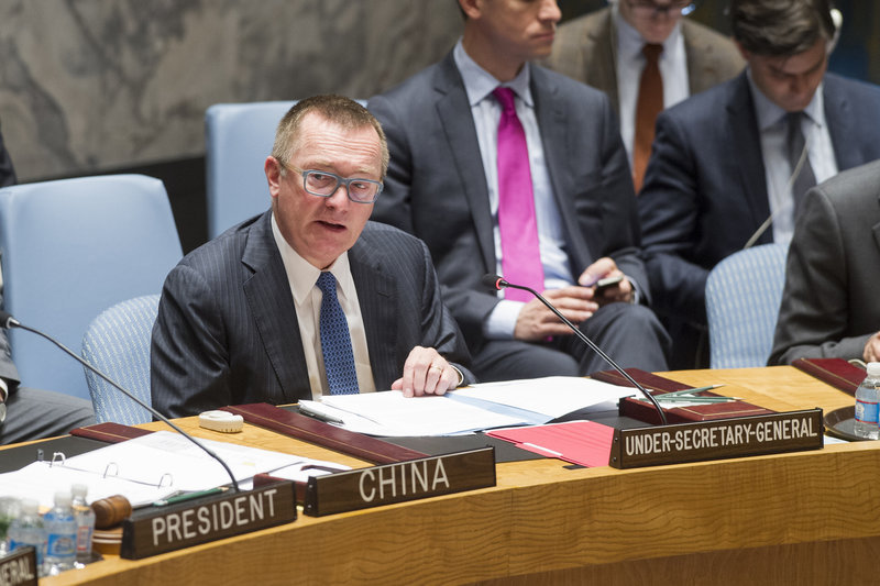 Jeffrey Feltman, Under-Secretary-General for Political Affairs, addresses the Security Council meeting on the situation in the Middle East, including the Palestinian question.