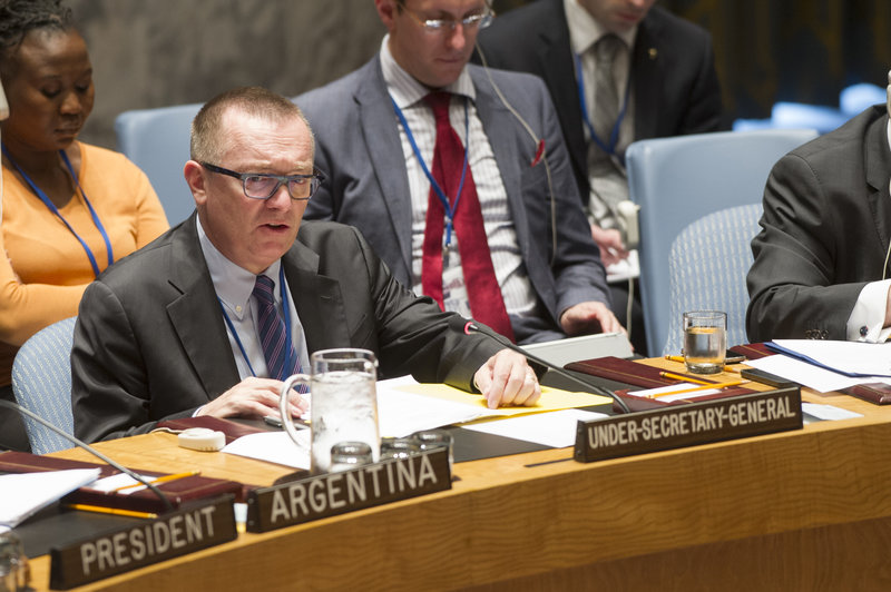 Jeffrey Feltman, Under-Secretary-General for Political Affair, briefs the Security Council at its meeting on the situation in the Middle East, including the Palestinian question.