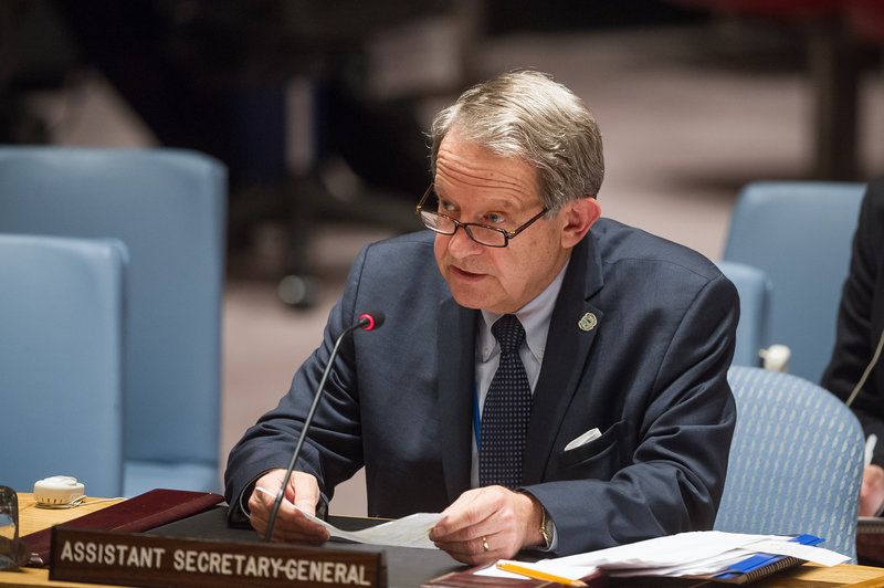 Jens Anders Toyberg-Frandzen, Assistant Secretary-General ad interim for Political Affairs, addresses the Security Council meeting on the situation in the Middle East, including the Palestinian question.