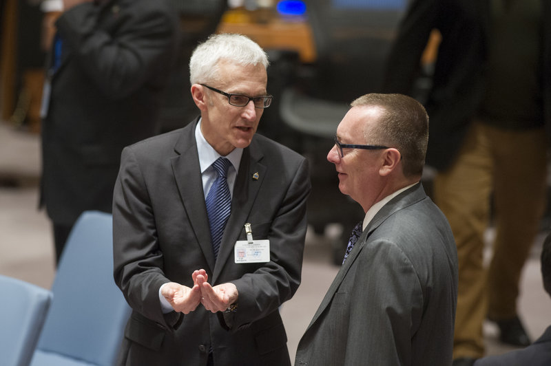 Jeffrey Feltman (right), Under-Secretary-General for Political Affairs, with Jürgen Stock, Secretary General of INTERPOL (International Criminal Police Organization), at the Security Council meeting on general issues relating to sanctions.