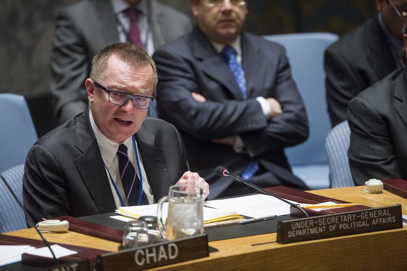 Jeffrey Feltman, Under-Secretary-General for Political Affairs, addresses the Security Council debate on terrorism and cross-border crime.