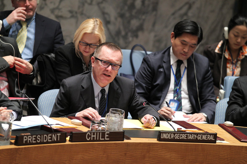 Jeffrey Feltman (centre), Under-Secretary-General for Political Affairs, briefs the Security Council on the situation in Ukraine.