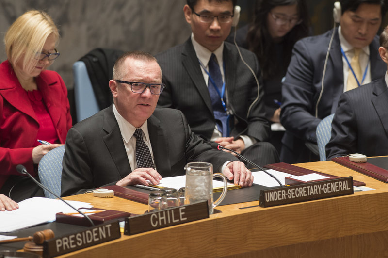 Jeffrey Feltman, Under-Secretary-General for Political Affairs, addresses the Security Council meeting on the situation in Ukraine.