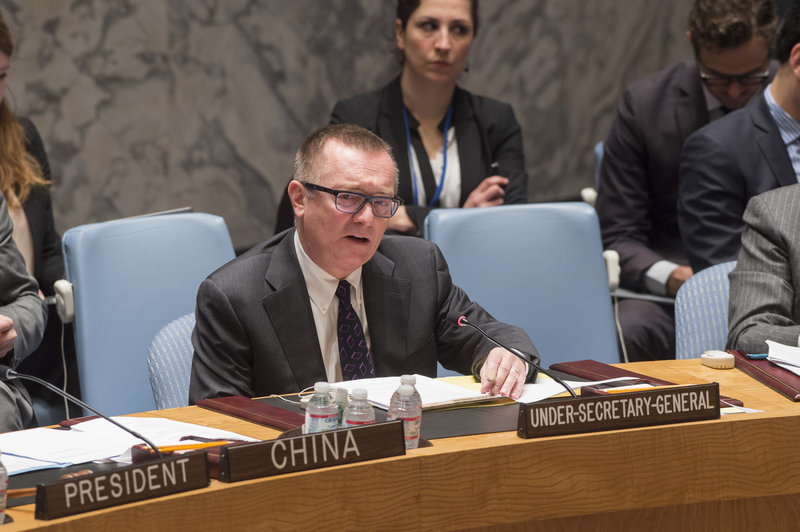 Jeffrey Feltman, Under-Secretary-General for Political Affairs, briefs the Security Council at its meeting on the situation in the Middle East, including the Palestinian question.