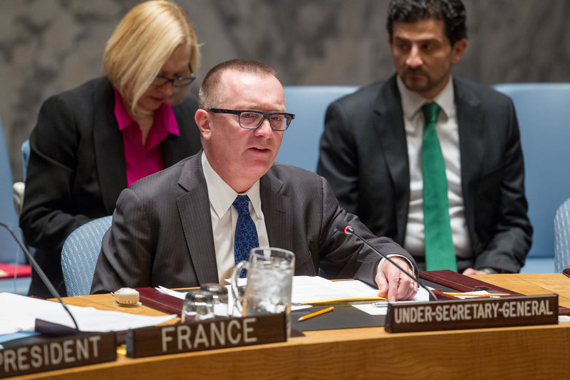 Jeffrey Feltman, Under-Secretary-General for Political Affairs, briefs the Security Council on the situation in Ukraine.