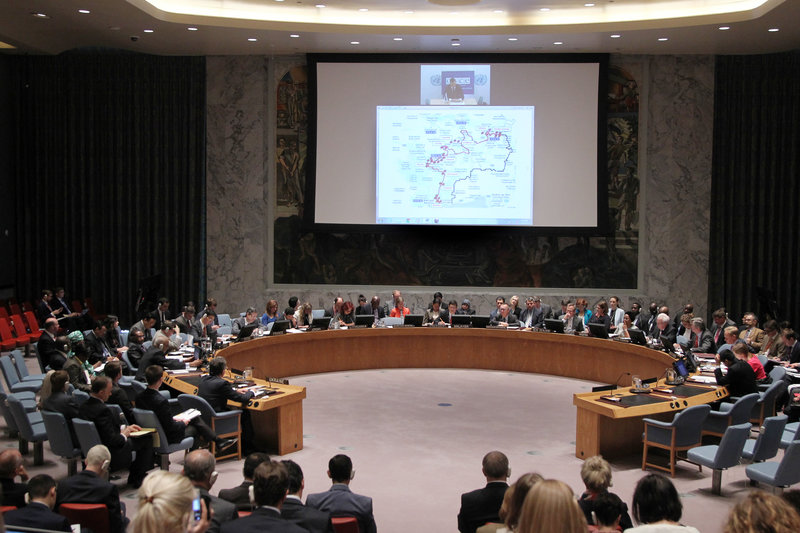 A wide view the Security Council meeting on the situation in Ukraine. Alexander Hug, Deputy Chief Monitor of the Organization for Security and Co-operation in Europe (OSCE) Special Monitoring Mission to Ukraine, briefed the Council via video conference.