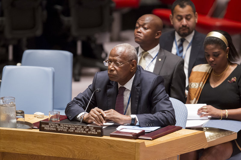 Abdoulaye Bathily, Special Representative of the Secretary-General and Head of UNOCA, during the Council meeting. The Security Council met to discuss the activities of the UN Regional Office for Central Africa (UNOCA) and the progress made in the implementation of the United Nations regional strategy to address the threat and impact of the Lord's Resistance Army (LRA).
