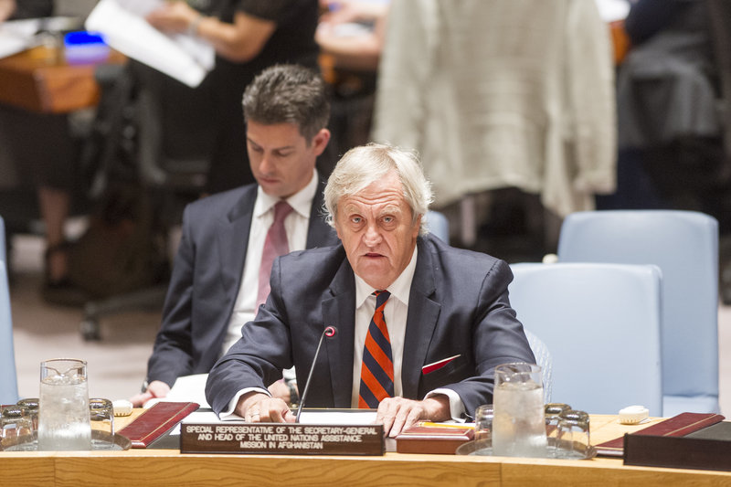Nicholas Haysom, Special Representative of the Secretary-General and Head of the United Nations Assistance Mission in Afghanistan (UNAMA), briefs the Security Council.
