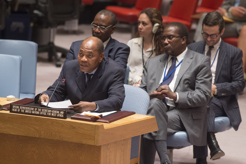 Mohammed Ibn Chambas (left), Special Representative of the Secretary-General and Head of the UN Office for West Africa (UNOWA), speaks at the Security Council meeting on peace consolidation in West Africa.