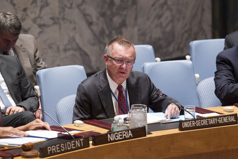 Under-Secretary-General for Political Affairs Jeffrey Feltman briefing the Security Council.