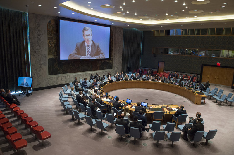 A wide view of the Security Council meeting on the situation in Libya. The Council was briefed by Bernardino Léon (shown on screen), Special Representative of the Secretary-General and Head of the UN Support Mission in Libya (UNSMIL).