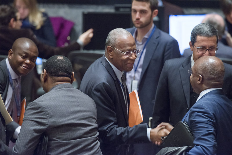 Abdoulaye Bathily (centre), Special Representative of the Secretary-General and Head of the UN Regional Office for Central Africa (UNOCA), greets a delegate during the Security Council meeting on the Central African region.