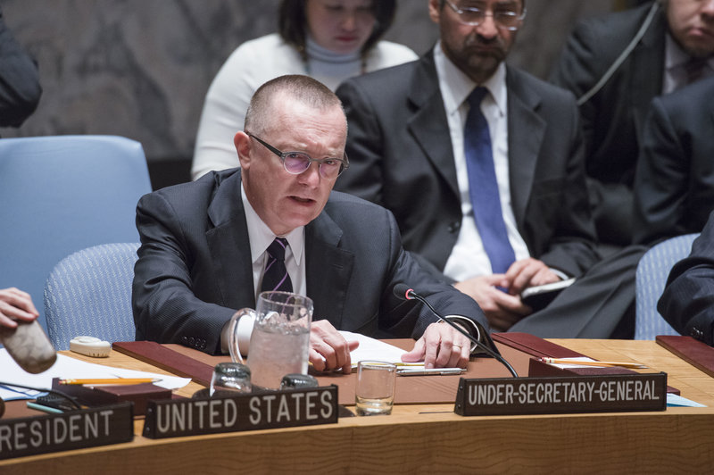 Jeffrey Feltman, Under-Secretary-General for Political Affairs, briefs the Council. The Security Council met to discuss the human rights situation in the Democratic People's Republic of Korea (DPRK). The agenda for the meeting was adopted by a procedural vote of 9 in favour and 4 against (Angola, China, Russian Federation and Venezuela), with 2 abstentions (Chad and Nigeria).