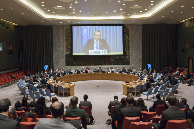 Nickolay Mladenov (shown on screen), UN Special Coordinator for the Middle East Peace Process and Personal Representative of the Secretary-General to the Palestine Liberation Organization and the Palestinian Authority, briefs the Security Council via video teleconference on the Middle East Situation, including the Palestinian question.