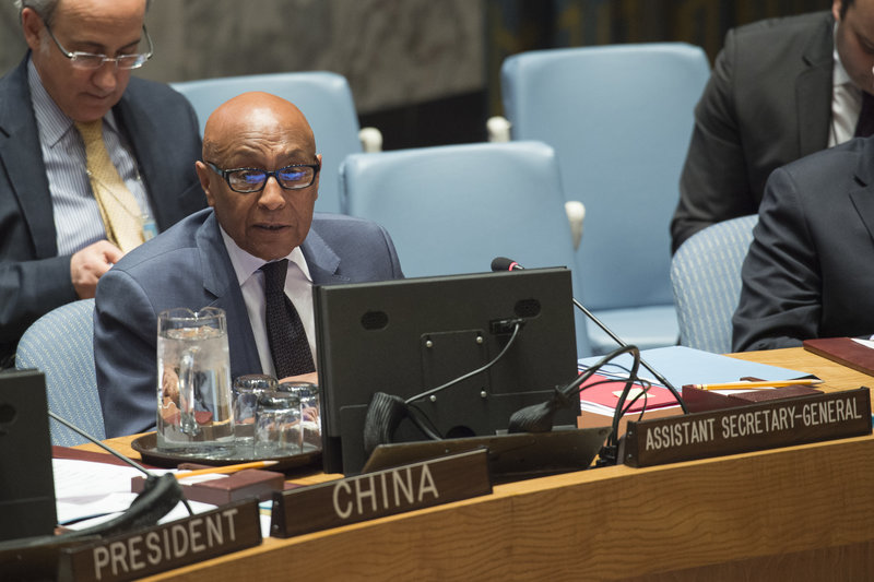 Tayé-Brook Zerihoun (left), Assistant Secretary-General for Political Affairs, briefs the Security Council on the situation in Ukraine.