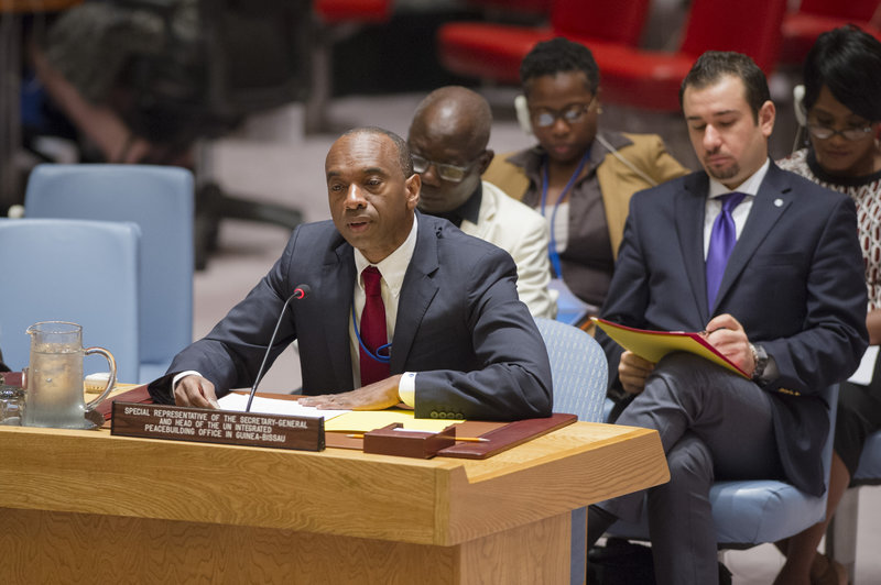 Modibo Touré, Special Representative of the Secretary-General for Guinea-Bissau and Head of the United Nations Integrated Peacebuilding Office in Guinea-Bissau (UNIOGBIS), briefs the Security Council.