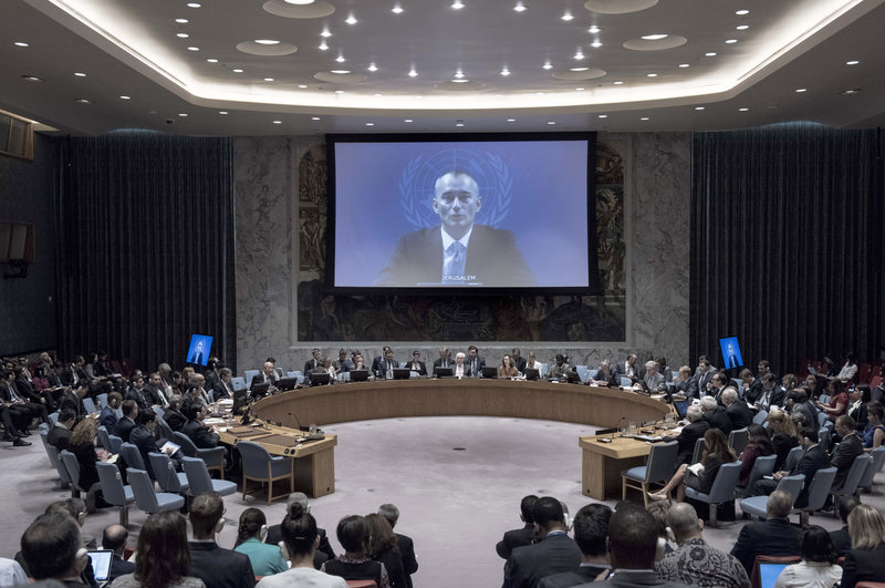Nickolay Mladenov (on screen), Special Coordinator for the Middle East Peace Process, briefs the Security Council via video teleconference from Jerusalem.