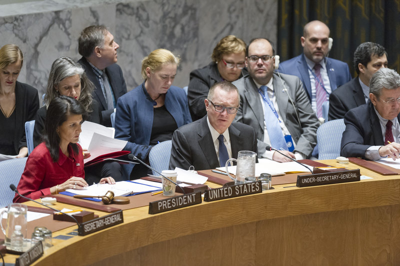 Jeffrey Feltman (front centre), Under-Secretary-General for Political Affairs, addresses the meeting. He is flanked by Nikki Haley (left), United States Permanent Representative to the UN and President of the Council for April; and Elbio Oscar Rosselli Frieri, Permanent Representative of Uruguay.