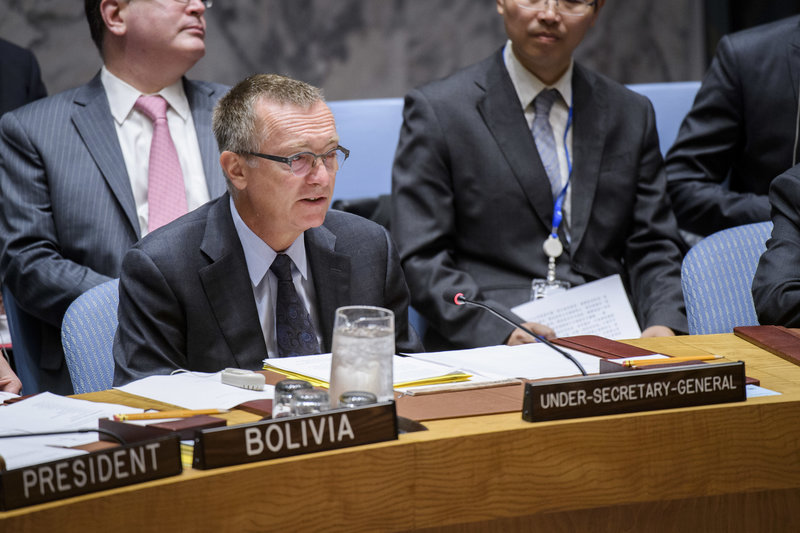 Jeffrey Feltman, Under-Secretary-General for Political Affairs, briefs the Council. The Security Council met to consider the threat posed by ISIL (Da'esh) to international peace and security and the range of United Nations efforts in support of Member States in countering the threat.
