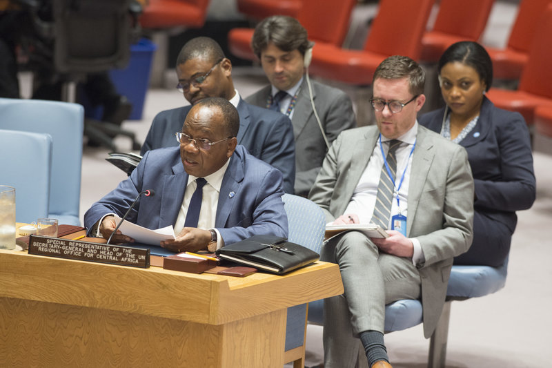François Loucény Fall, Acting Special Representative of the Secretary-General and Acting Head of the United Nations Regional Office for Central Africa (UNOCA), briefs the Security Council.