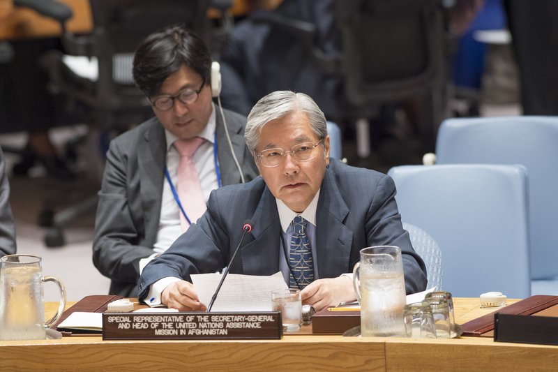 Tadamichi Yamamoto, Special Representative of the Secretary-General and Head of the United Nations Assistance Mission in Afghanistan (UNAMA), addresses the Security Council meeting on the situation in Afghanistan and its implications for international peace and security.