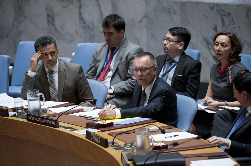 Jeffrey Feltman (centre), Under-Secretary-General for Political Affairs, addresses the meeeting. At left is Sacha Sergio Llorentty Solíz, Permanent Representative of the Plurinational State of Bolivia to the UN and President of the Council for June. The Security Council met to consider progress on the 2015 accord on Iran's Nuclear Programme known as the Joint Comprehensive Plan of Action.