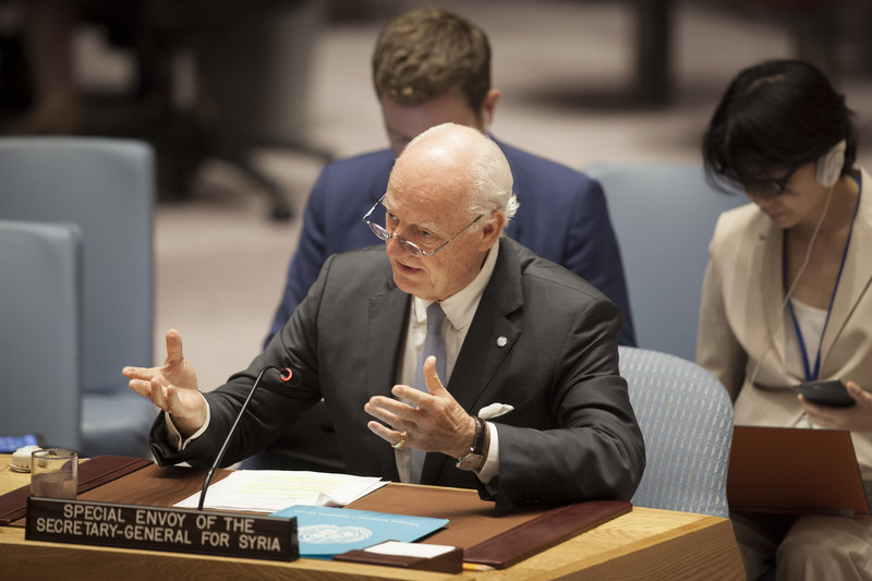 Staffan de Mistura, UN Special Envoy for Syria, briefs the Security Council.