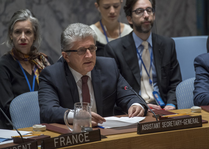 Miroslav Jenča, Assistant Secretary-General for Political Affairs, briefs the Security Council meeting on the situation in the Middle East, including the Palestinian question.