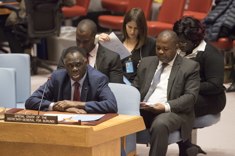 Michel Kafando, Special Envoy of the Secretary-General for Burundi, briefs the Security Council meeting on the situation in the country.