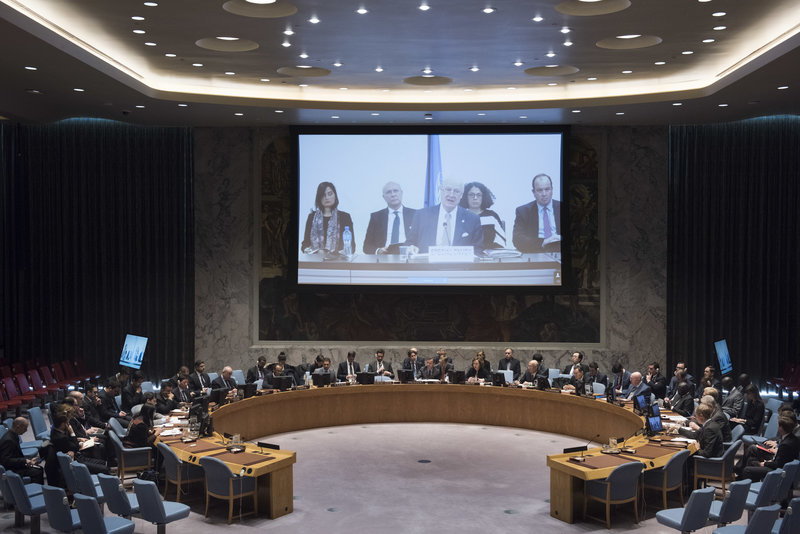 Staffan de Mistura (centre on screen), UN Special Envoy for Syria, briefs the Security Council, via video conference.