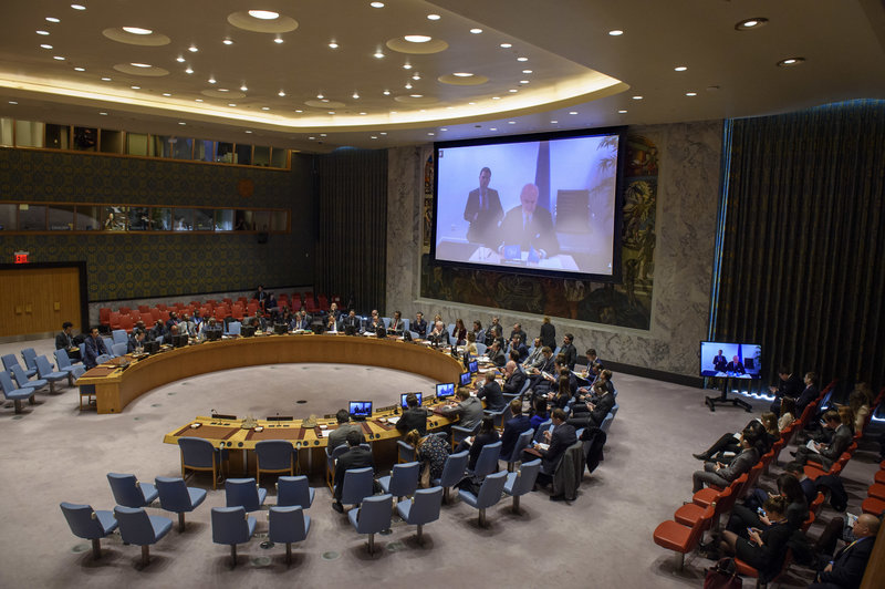 Staffan de Mistura (on screen), UN Special Envoy for Syria, briefs the Security Council on the situation in Syria.