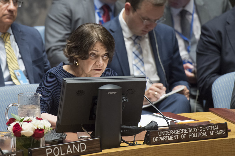 Rosemary A. DiCarlo, Under-Secretary-General for Political Affairs, briefs the Security Council meeting on the letter dated 28 February 2014 addressed to the President of the Security Council from the Permanent Representative of Ukraine to the United Nations.