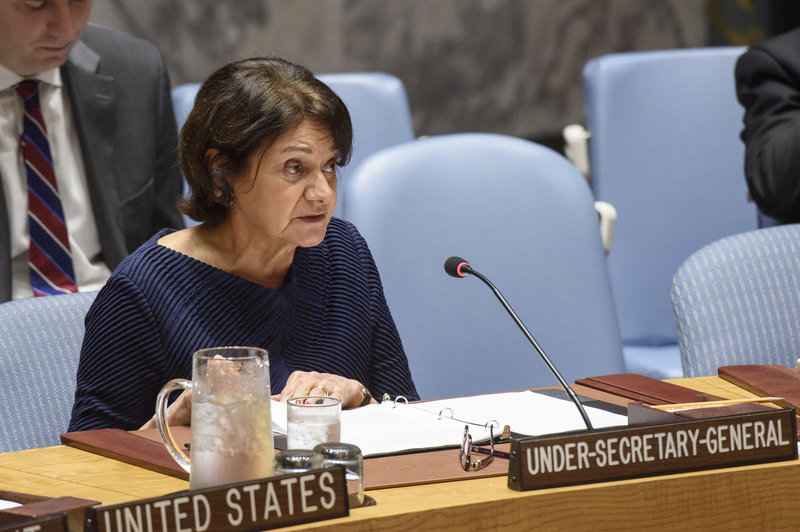 Rosemary A. DiCarlo, Under-Secretary-General for Political Affairs, addresses Security Council meeting. UN Photo/Loey Felipe
