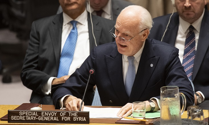 Staffan de Mistura, UN Special Envoy for Syria, briefs the Security Council meeting on the situation in Syria. UN Photo/Eskinder Debebe