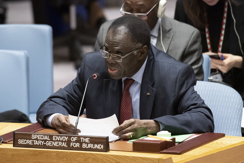 Michel Kafando, Special Envoy of the Secretary‑General for Burundi, briefs the Security Council meeting on the situation in Burundi. UN Photo/Eskinder Debebe