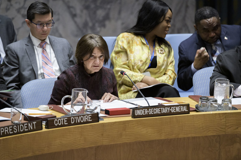 Rosemary A. DiCarlo, Under-Secretary-General for Political and Peacebuilding Affairs, briefs the Security Council open debate on Addressing the Impact of Climate-Related Disasters on International Peace and Security.
