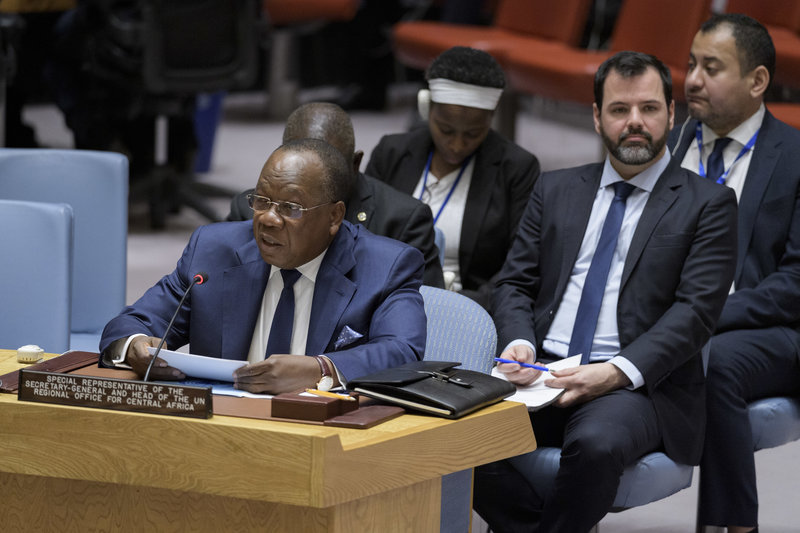 François Louncény Fall, Special Representative of the Secretary-General and Head of the United Nations Regional Office for Central Africa (UNOCA), briefs the Security Council meeting on Central African region. UN Photo/Manuel Elias